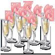 Bolo de casamento de taças de champanhe