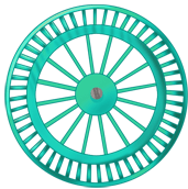 Roue fond turquoise